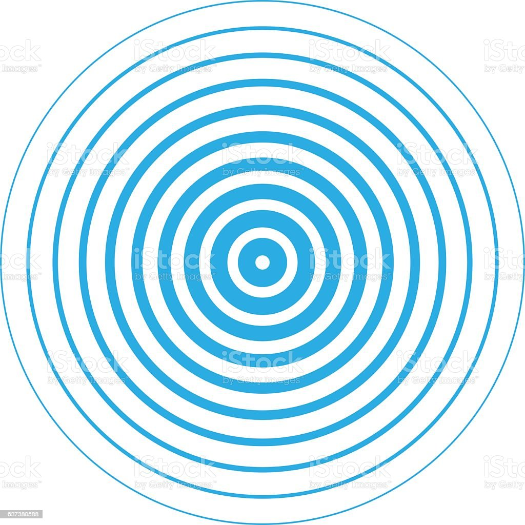 Radar screen concentric circle elements. vector art illustration