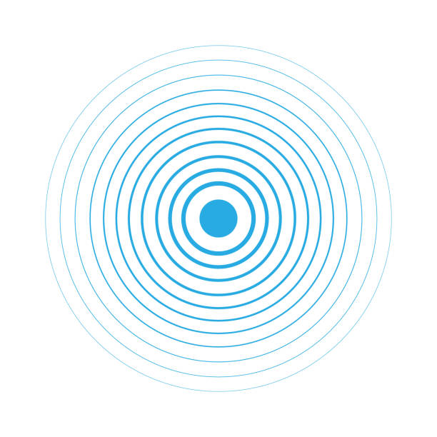 Radar screen concentric circle elements. Vector illustration for sound wave. White and blue color ring. Circle spin target. Radio station signal. Center minimal radial ripple line outline abstraction Radar screen concentric circle elements. Vector illustration for sound wave. White and blue color ring. Circle spin target. Radio station signal. Center minimal radial ripple line outline abstraction rippled stock illustrations