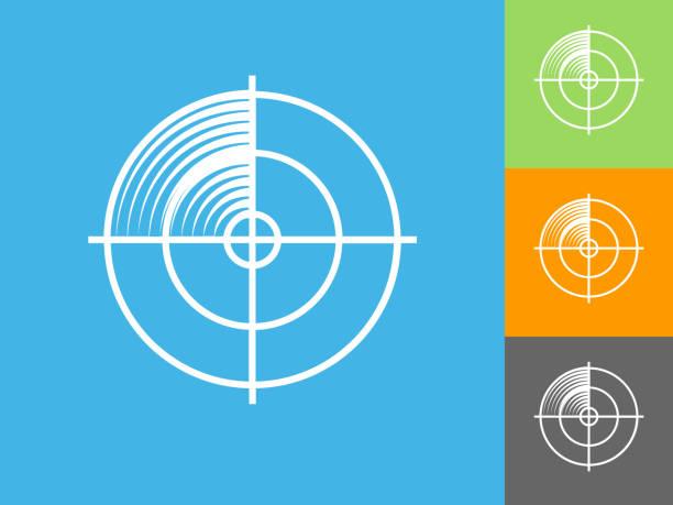 radar screen  flat icon on blue background - radar stock illustrations