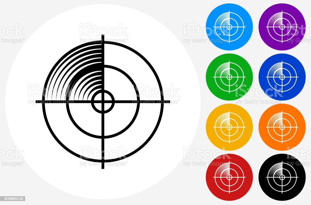 Radar Screen Icon on Flat Color Circle Buttons vector art illustration