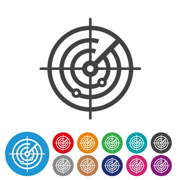 radar screen icons - graphic icon series - radar stock illustrations