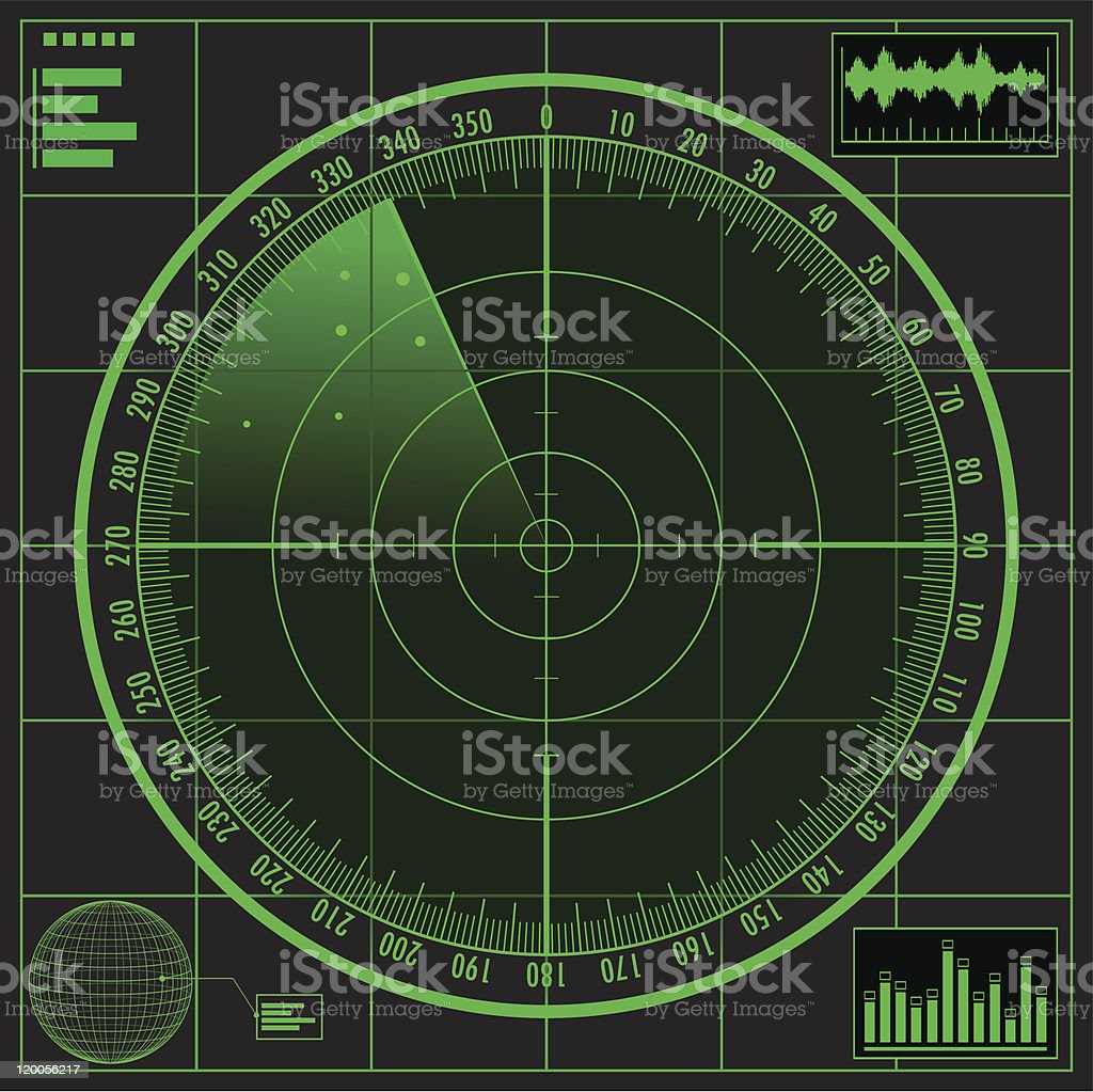 Radar screen. vector art illustration