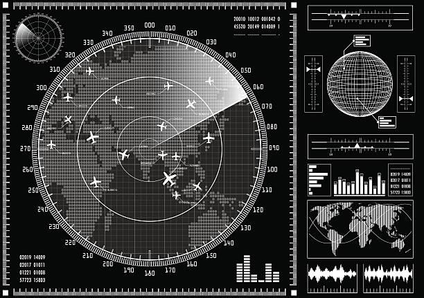 ilustrações de stock, clip art, desenhos animados e ícones de tela de radar com interface futurista hud. - solar panel