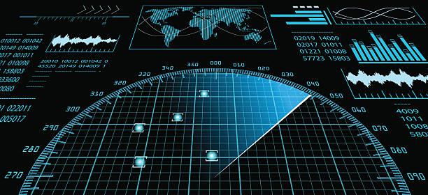 radar screen with futuristic user interface hud. - radar stock illustrations