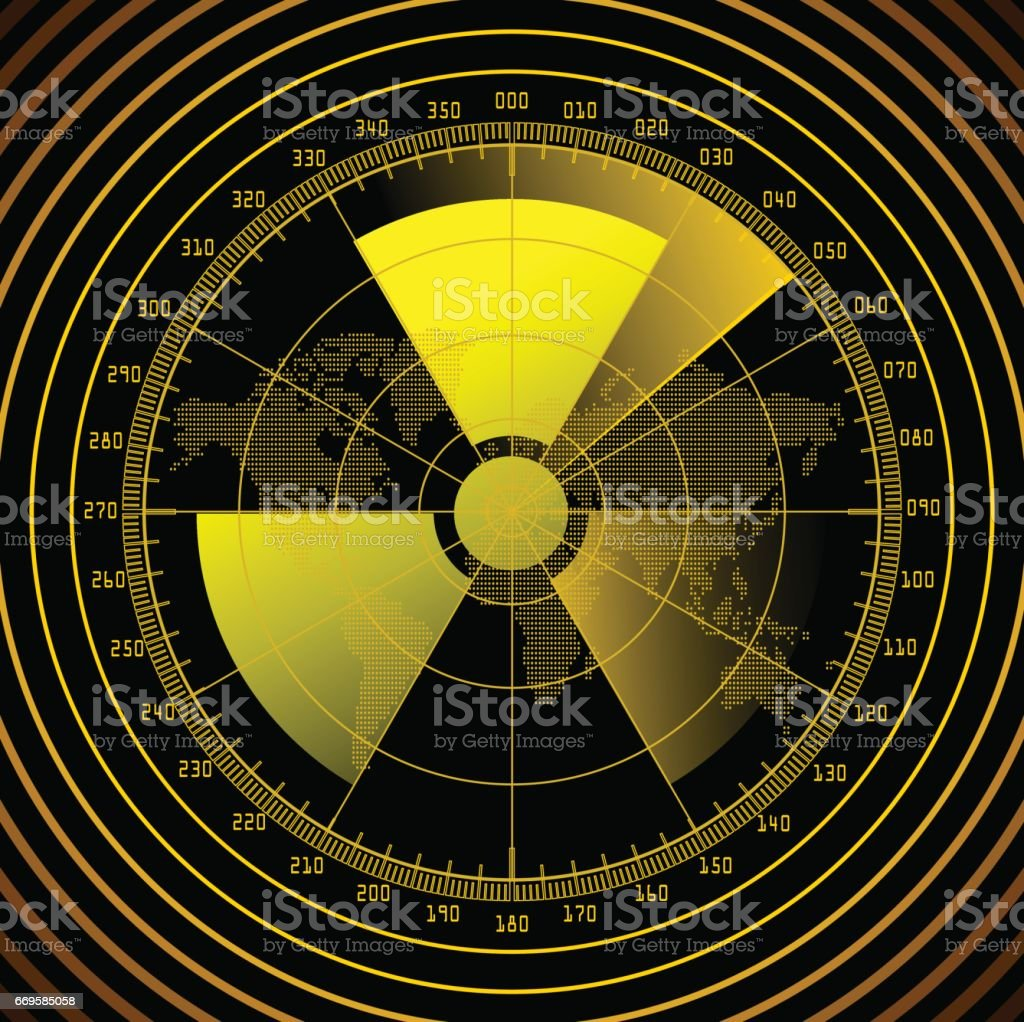 Radar screen with radioactive sign vector art illustration