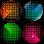 Radar set with targets in process. Navigation HUD interface. Military radar screen. Vector illustration