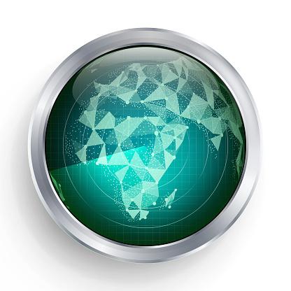 Radar Vector. Africa. Military Abstract Screen Radar. HUD User Interface