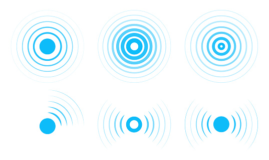 Radar vector icons. Signal concentric circles. Sonar sound waves isolated on white background.
