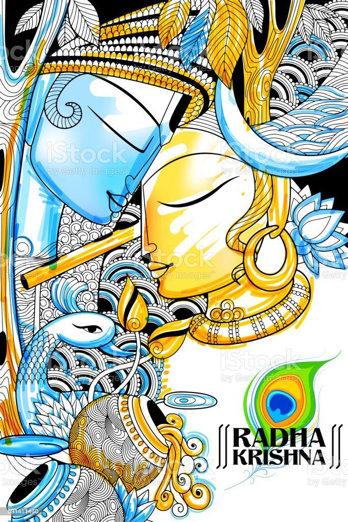 Radha and Lord Krishna on Janmashtami vector art illustration
