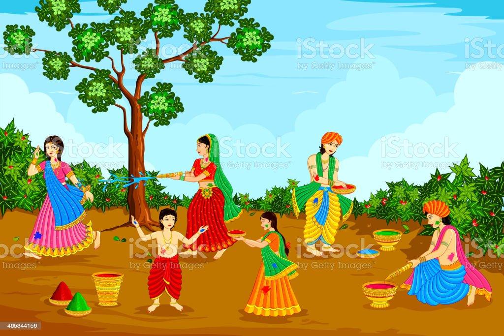 Radha Krishna playing Holi vector art illustration