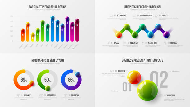 illustrazioni stock, clip art, cartoni animati e icone di tendenza di radial bar marketing analytics presentation vector illustration template bundle. - banchi scuola