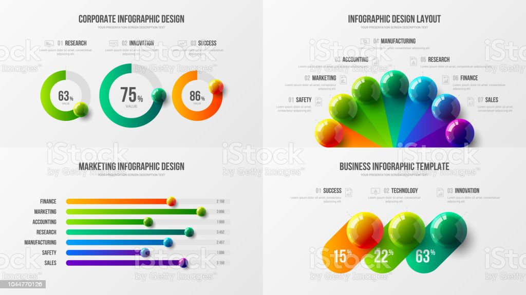 Radial bar marketing analytics presentation vector illustration template bundle. vector art illustration