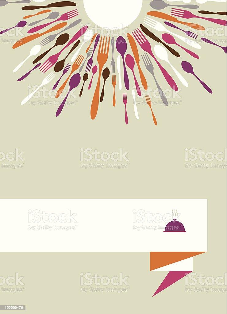 Radial cutlery menu background vector art illustration