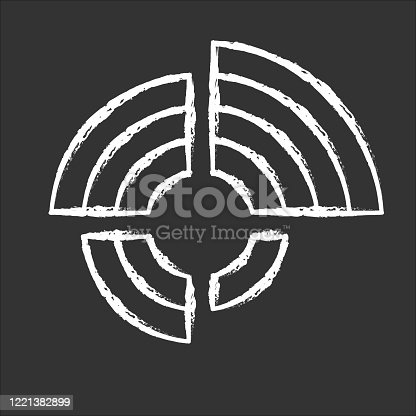 Radial diagram chalk icon. Round chart, circular graph. Radar diagram. Multivariate data presentation. Spider chart. Info value extend from central point. Isolated vector chalkboard illustration