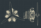 istock Radial engine blueprints 1191980883