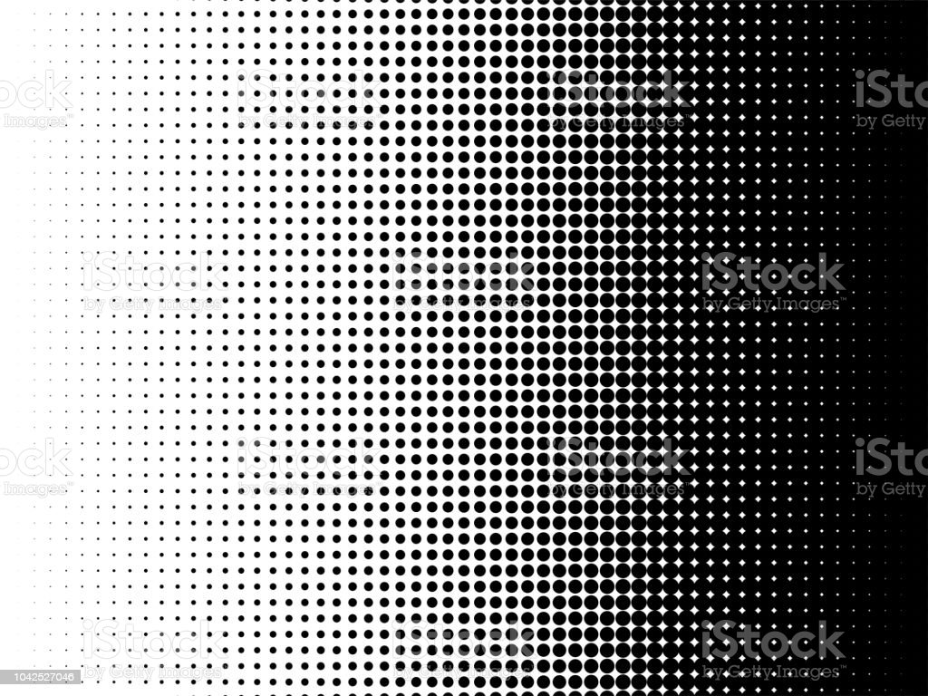 Radial halftone pattern texture. Vector black and white radial dot gradient background for retro, vintage wallpaper graphic effect. Monochrome pop art dot overlay for poster illustration - Royalty-free Abstrato arte vetorial