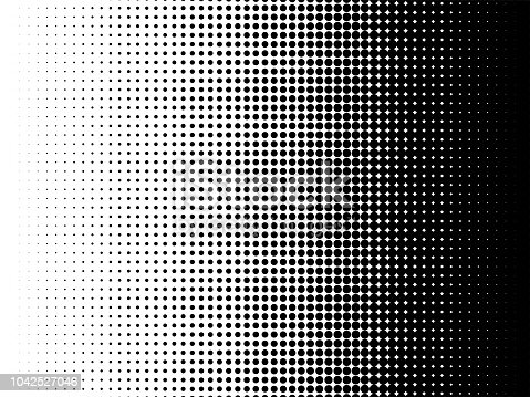 Radial halftone pattern texture. Vector black and white radial dot gradient background for retro, vintage wallpaper graphic effect. Monochrome pop art dot overlay for poster illustration