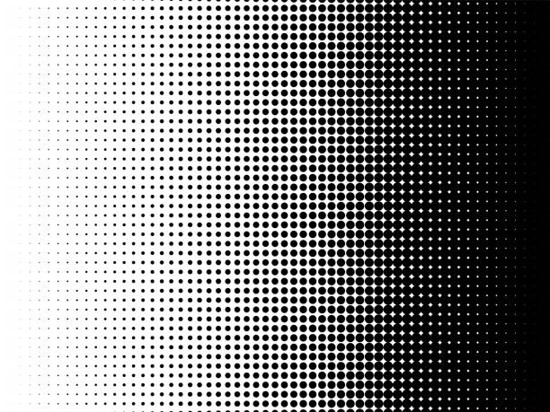 radial halftone pattern texture. vector black and white radial dot gradient background for retro, vintage wallpaper graphic effect. monochrome pop art dot overlay for poster illustration - spotted stock illustrations
