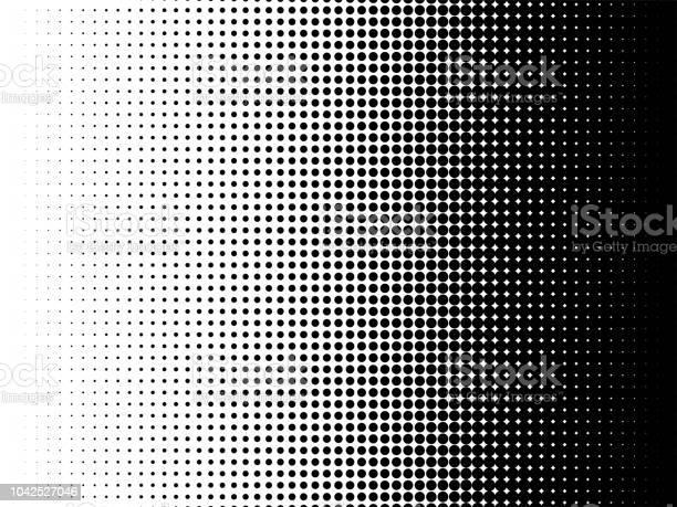 Radial Halftone Pattern Texture Vector Black And White Radial Dot Gradient Background For Retro Vintage Wallpaper Graphic Effect Monochrome Pop Art Dot Overlay For Poster Illustration - Arte vetorial de stock e mais imagens de Abstrato