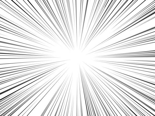 radial lines comics books. flash ray blast glow boom speed burst action effect bang explosion power motion background - blurred motion stock illustrations