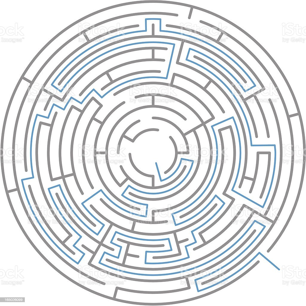 Radial Maze - Vector royalty-free radial maze vector stock vector art & more images of beginnings
