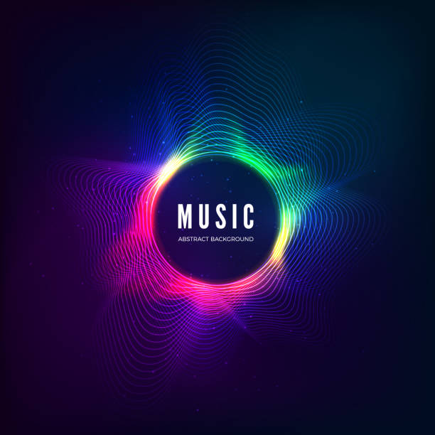 radial sound wave curve with light particles. colorful equalizer visualisation. abstract colorful cover for music poster and banner. vector illustration - hałas stock illustrations