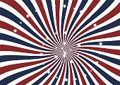 Radial Swirl vector background. Sparkling stars on sunburst red, white and blue ray illustration background.