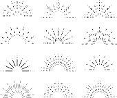 Radiant sunrise lineart design icons set template vector illustration