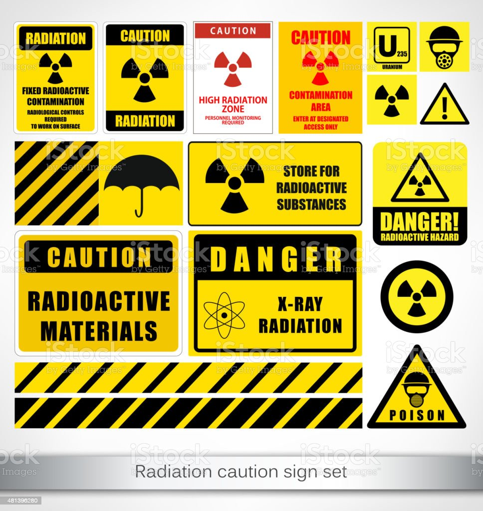 Radiation caution sign set vector art illustration