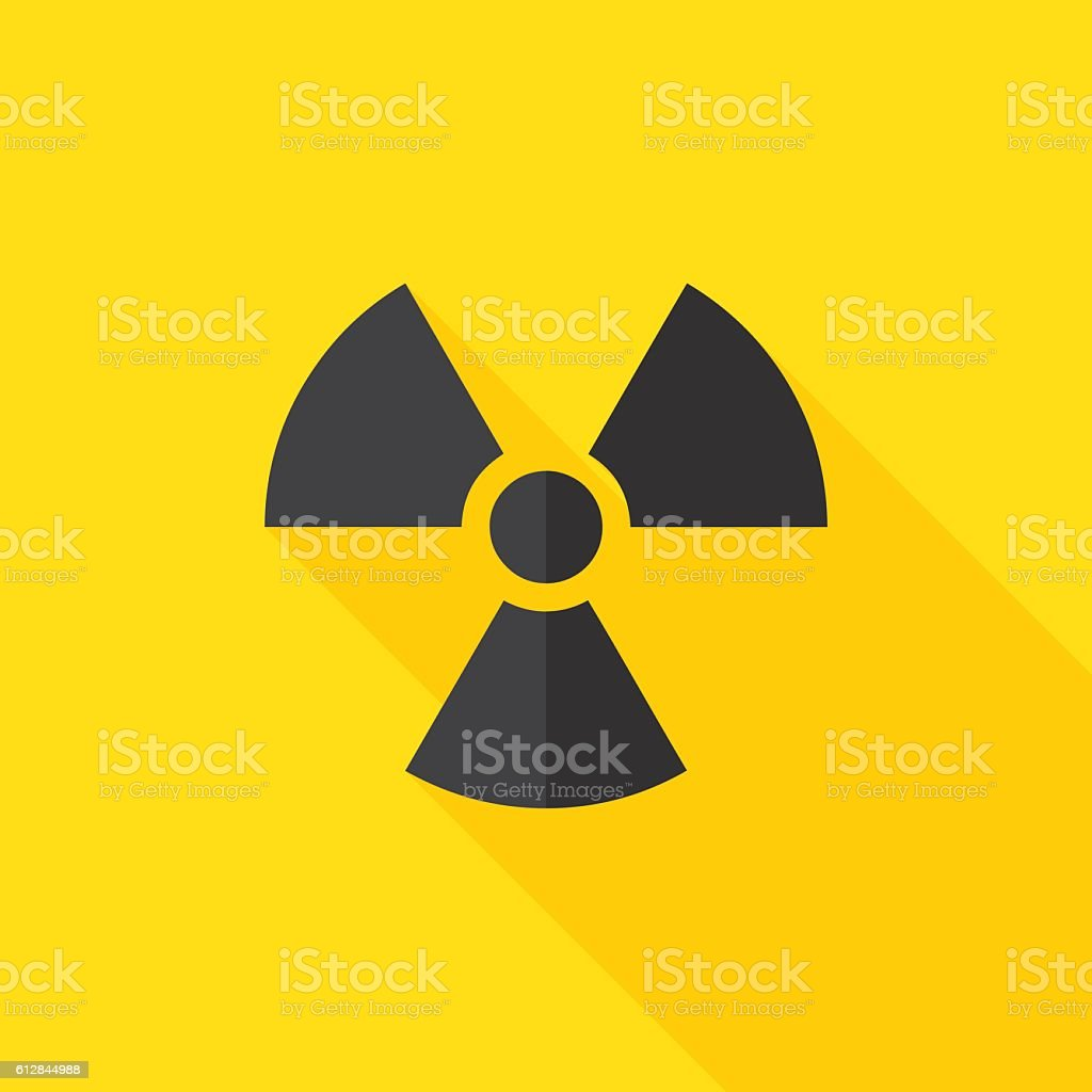 Radiation Hazard Flat Long Shadow Icon vector art illustration
