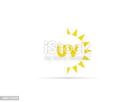 UV radiation icon, ultraviolet with sun logo symbol. vector illustration.