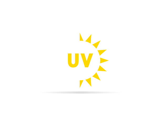 ilustrações de stock, clip art, desenhos animados e ícones de uv radiation icon, ultraviolet with sun logo symbol. vector illustration. - protetor solar