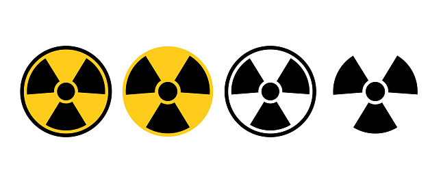 Radiation nuclear radioactive icon on different styles. Black-yellow and black-white radiation symbol. Vector illustration