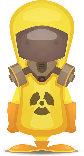 radiation protection suit - cartoon of a hazmat suit stock illustrations, clip art, cartoons, & icons