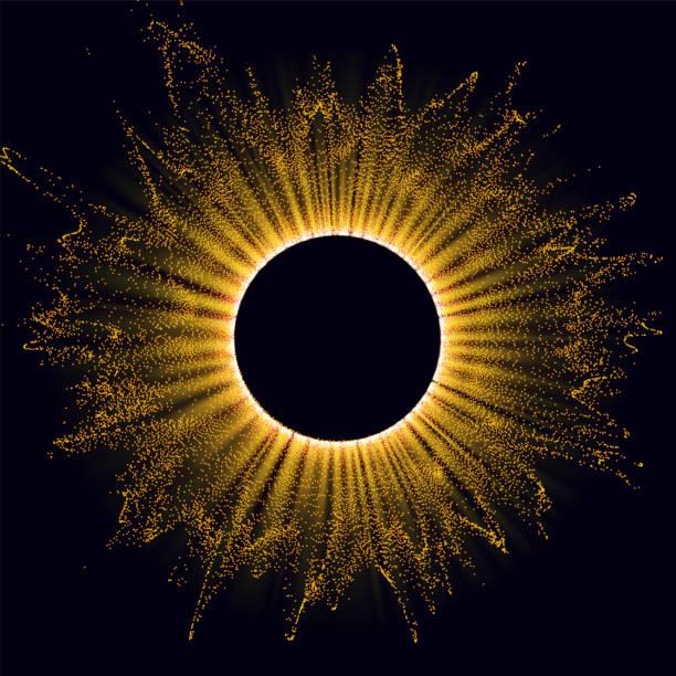 Strahlung. Sonnenwind, Sonnenfinsternis. Energie. Futuristischer Blitz. Energiefluss. Plasma. Glüheffekt. Glint kosmische Strahlung. Abstrakter Hintergrund. Vektor. – Vektorgrafik