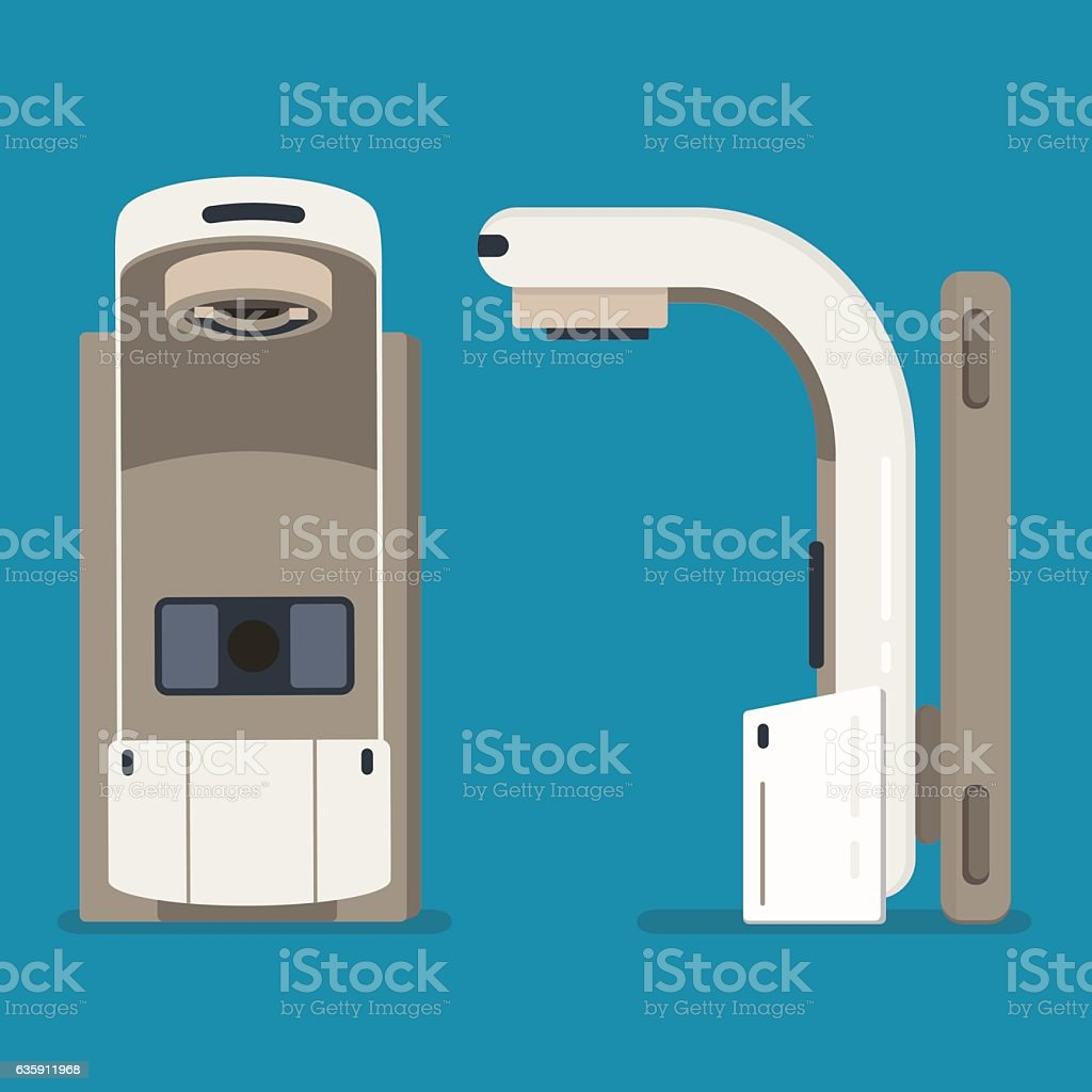 Radiation therapy linear accelerator. Cancer treatment vector art illustration