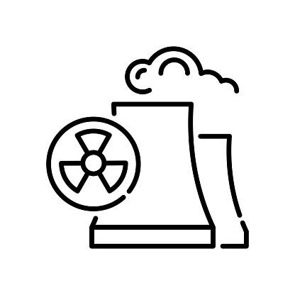Radiation vector outline icon style illustration. EPS 10 file