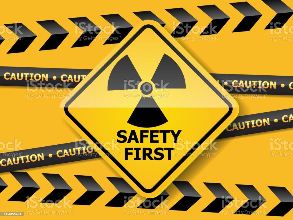 Strahlung Warnschild auf gelbe Wand Vektor Hintergrund – Vektorgrafik
