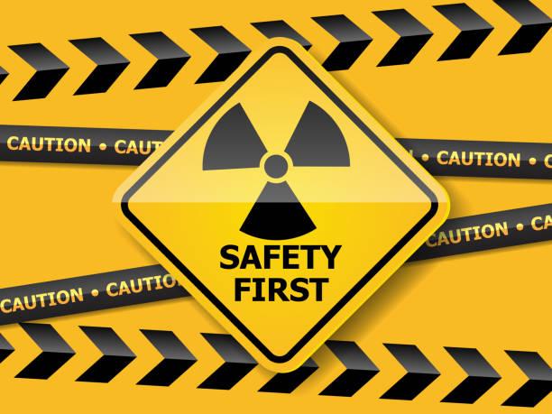 radiation warning sign on yellow wall vector background vector art illustration