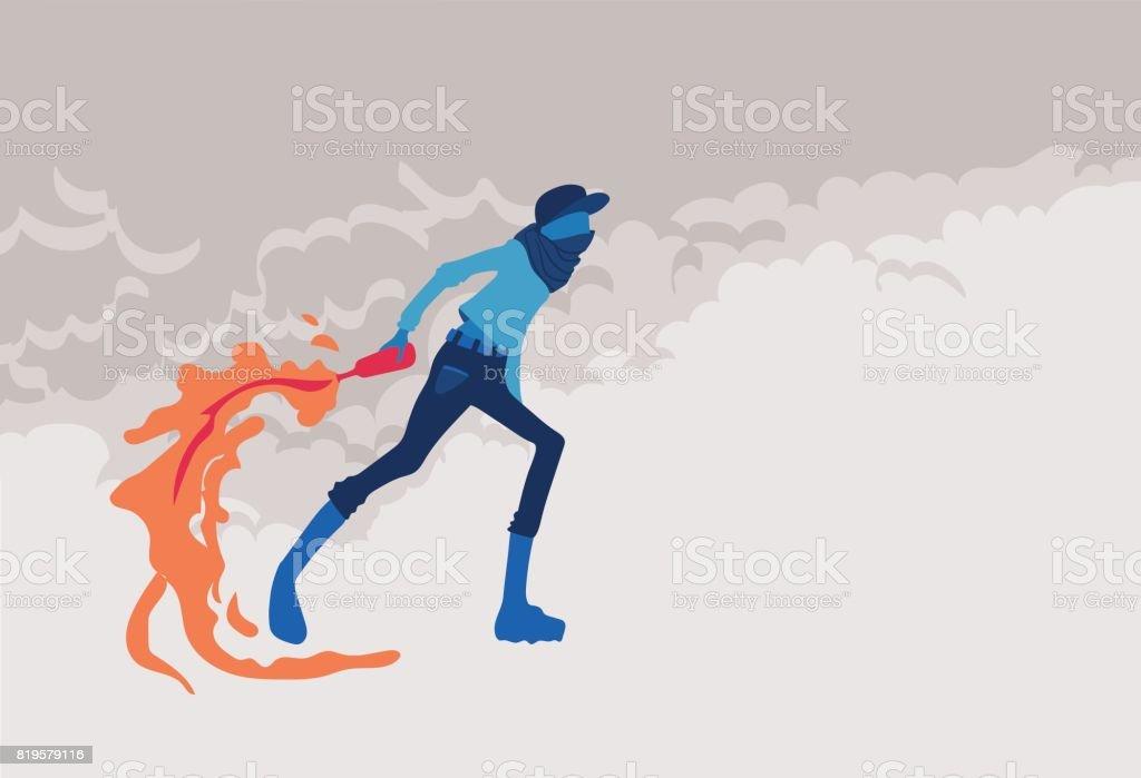 Radikale junger Mann mit Molotov Cocktails, Feuer und Rauch. Aufruhre. Vektor-Illustration, Plakat mit Textfreiraum. – Vektorgrafik
