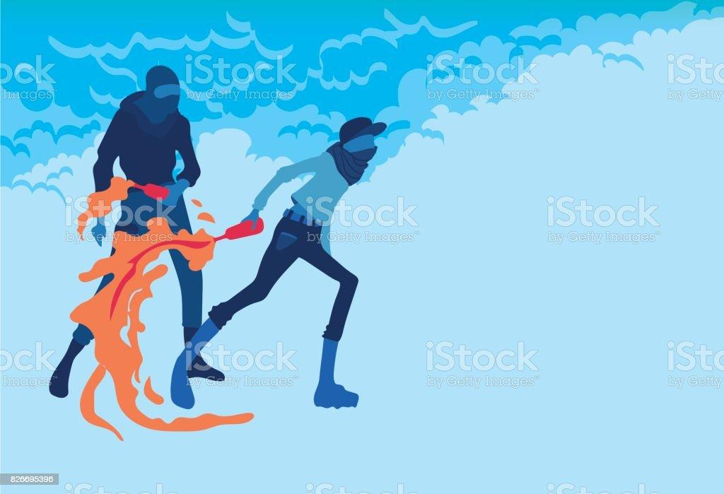 Radikale junge Männer mit Molotov-Cocktails, Feuer und Rauch. Aufruhre. Vektor-Illustration, Plakat mit Textfreiraum. – Vektorgrafik