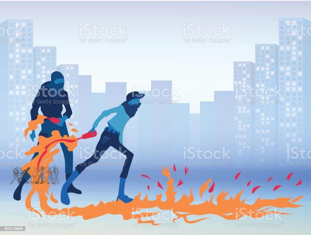 Radikale junge Männer mit Molotov-Cocktails auf einer Stadtstraße. Aufruhre. Vektor-Illustration. – Vektorgrafik