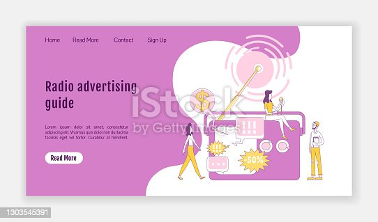 istock Radio advertising guide landing page flat silhouette vector template. Marketing technology homepage layout. Broadcasting one page website interface with cartoon outline character. Web banner, webpage 1303545391
