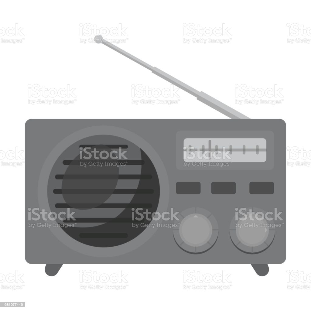 Radio advertising icon in monochrome style isolated on white background. Advertising symbol stock vector illustration. royalty-free radio advertising icon in monochrome style isolated on white background advertising symbol stock vector illustration stock vector art & more images of art