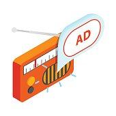 Radio advertising icon, isometric 3d style