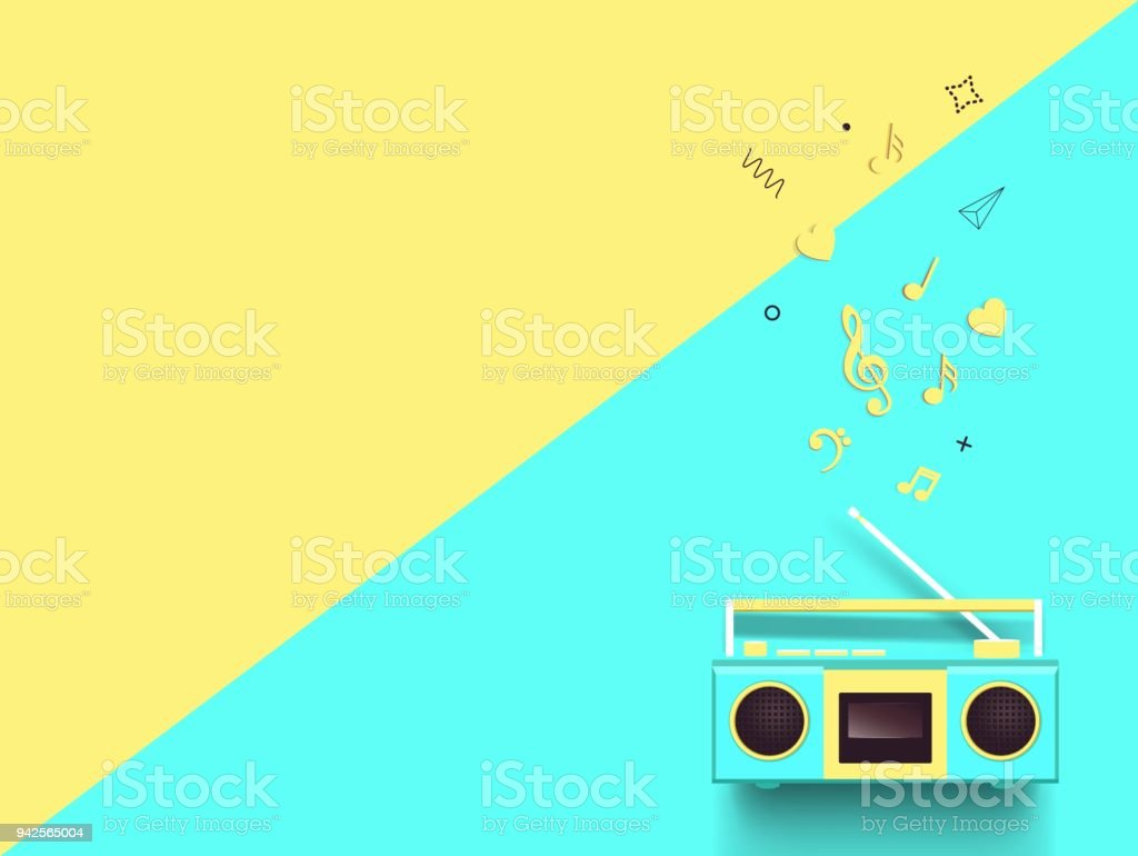 Radio And Music Notes On Colorful Background Stock Vector Art & More ...