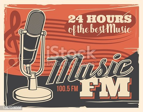 Radio broadcast poster, retro microphone of music studio podcast and FM live sound station, vector. Live radio broadcasting and entertainment media news, pop, rock and jazz, DJ on air