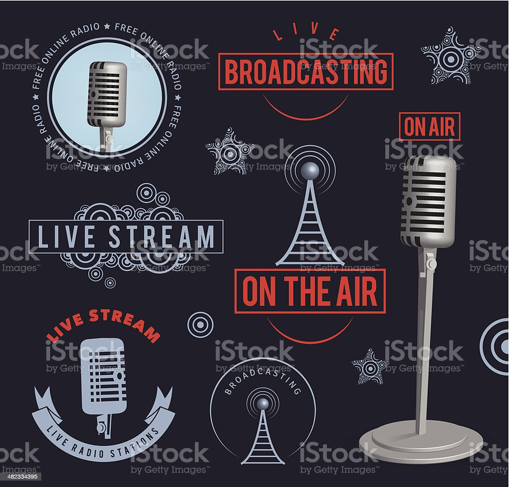 Radio broadcasting design elements vector art illustration