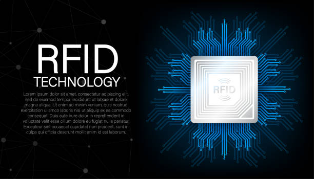 RFID Radio Frequency IDentification. Technology concept. Digital technology. Vector stock illustration. RFID Radio Frequency IDentification. Technology concept. Digital technology. Vector stock illustration radio frequency identification stock illustrations