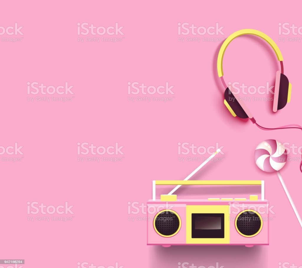 Radio Headphones And Candy On Pink Background Stock Vector Art